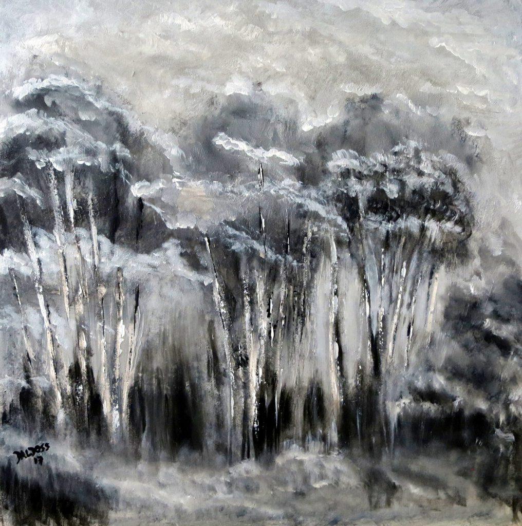 Winterwald, Acryl auf Leinwand, 60x60