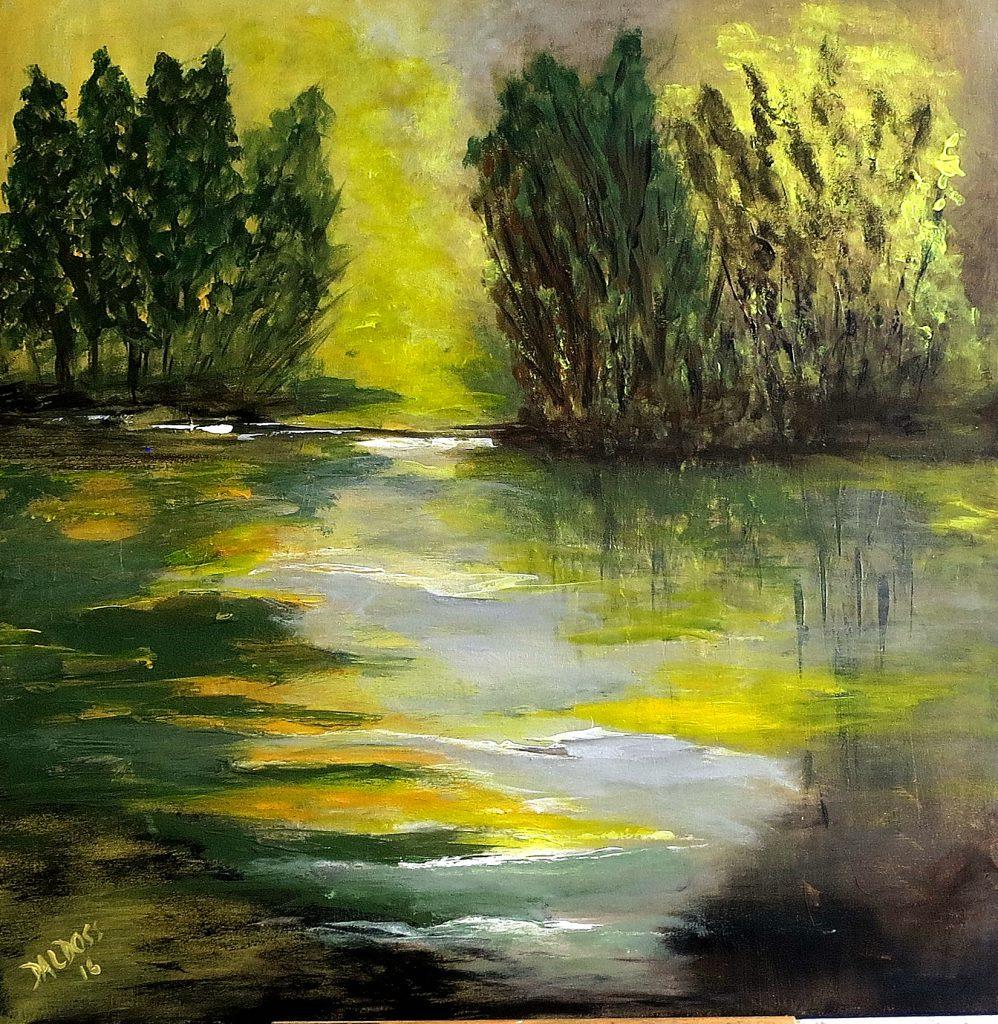 Natur am Wasser, Acryl auf Leinwand, 60x60