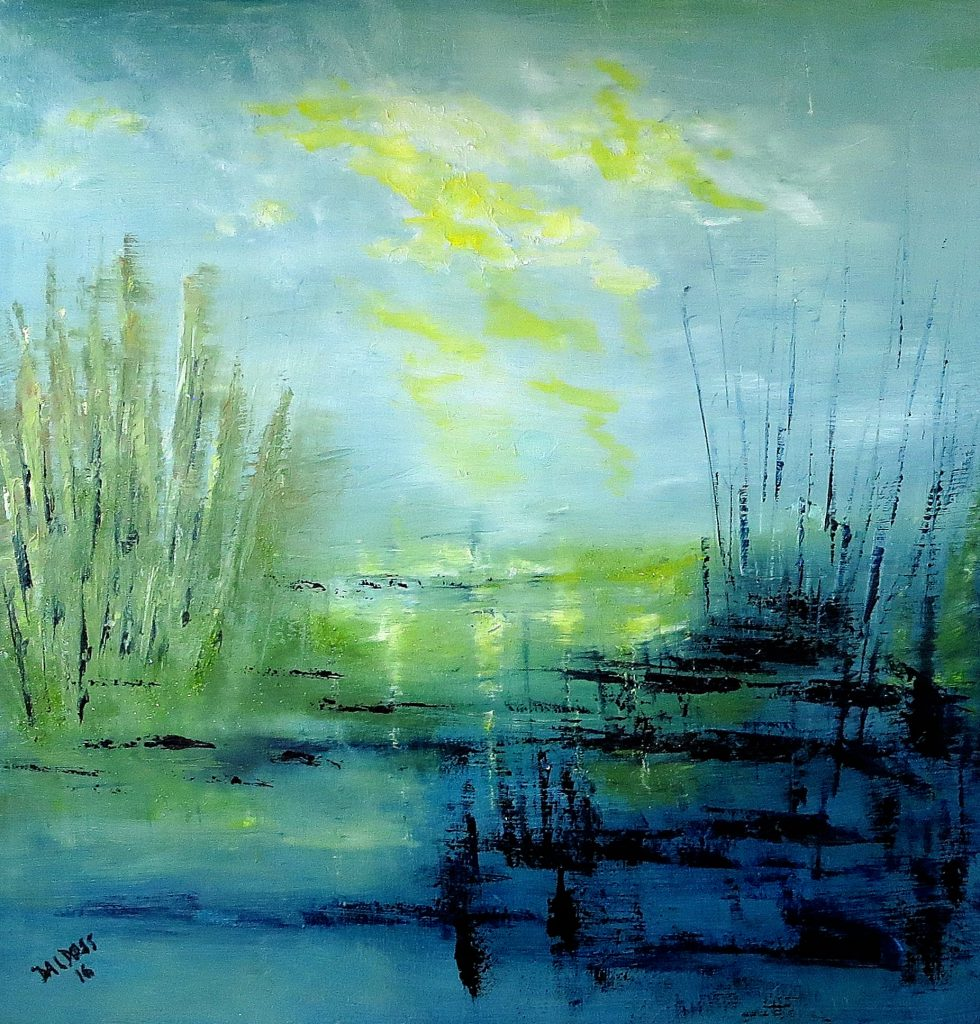 am Wasser, Acryl auf Leinwand, 60x60