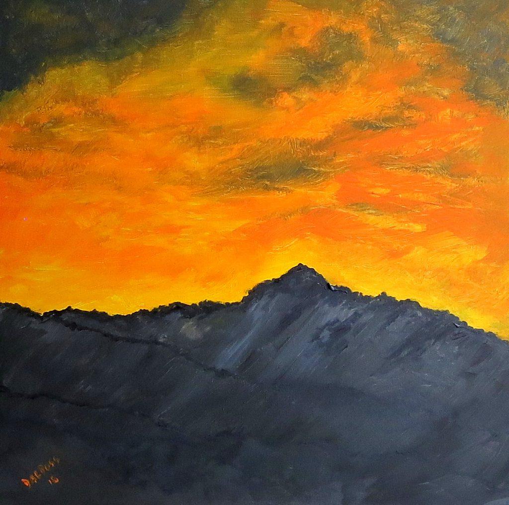 Sonnenaufgang im Gebirge, Acryl auf Leinwand, 60x60