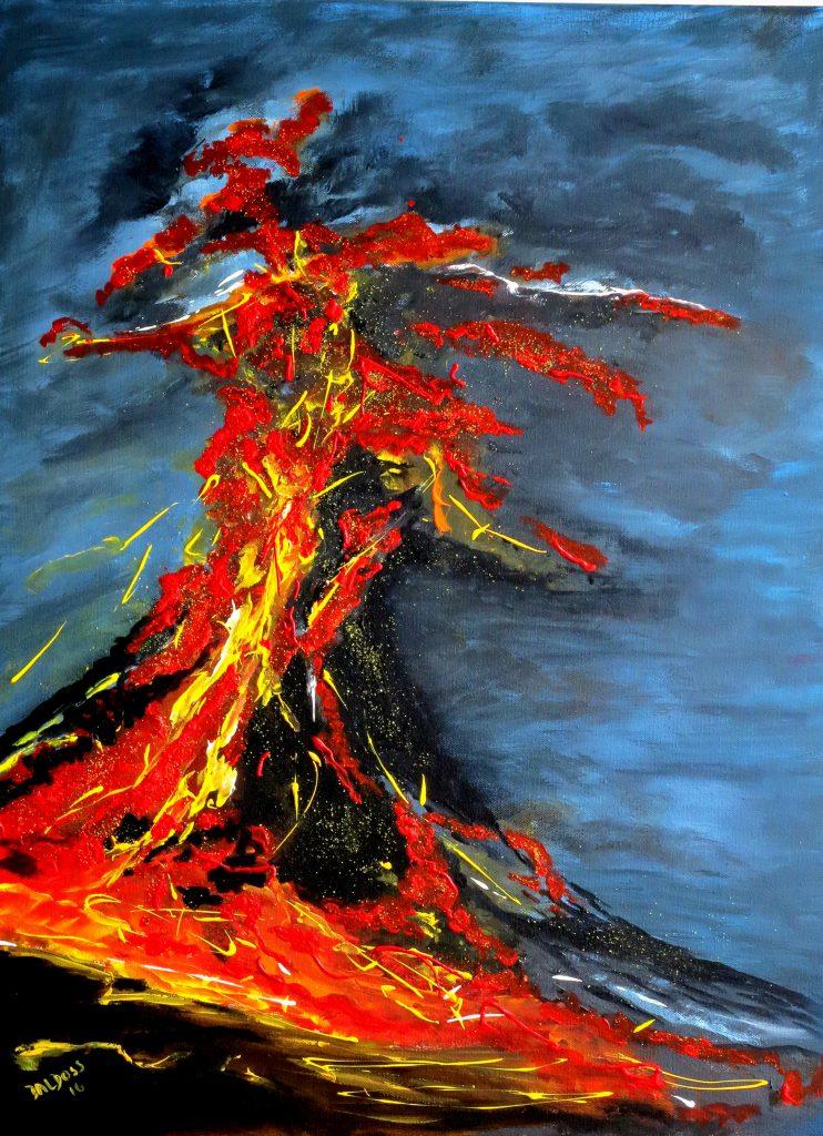 Vulkanausbruch, Acryl auf Leinwand, 80x60