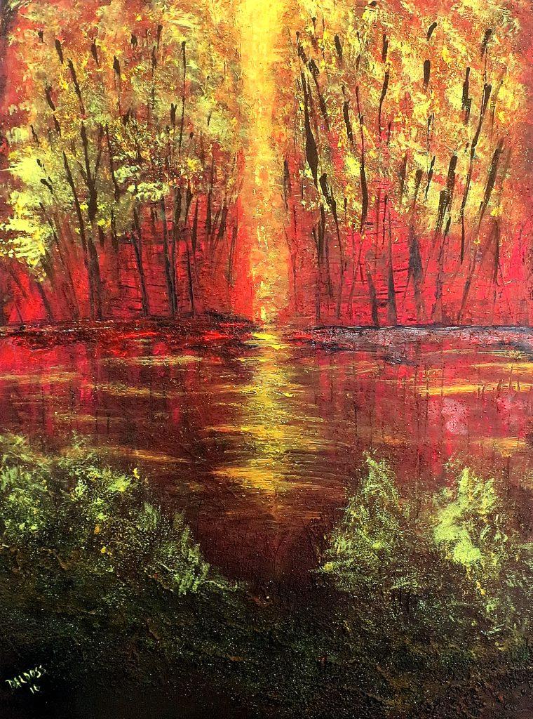 Bäume am Wasser, Acryl auf Leinwand, 80x60