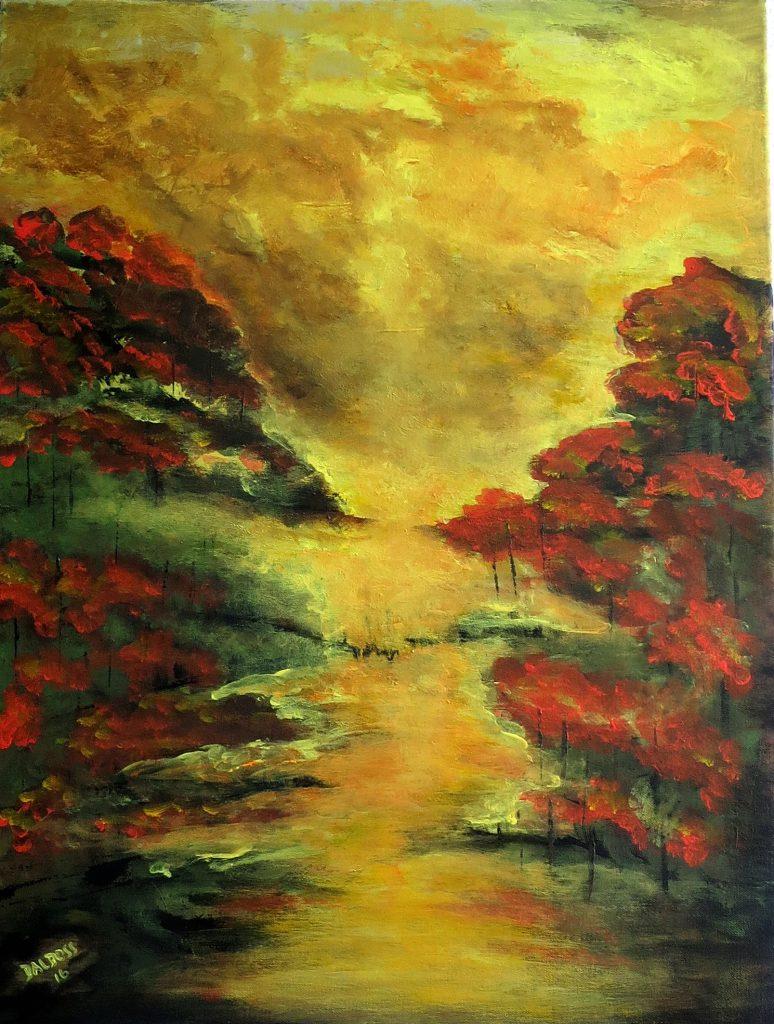 Natur im Herbst, Acryl auf Leinwand, 80x60