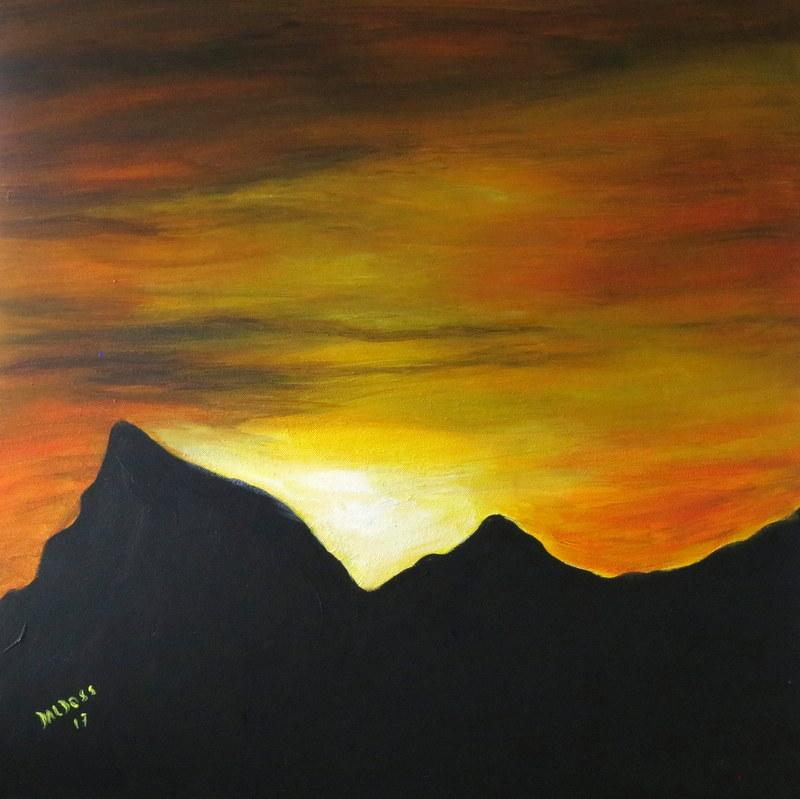 Sonnwendfeuer, Acryl auf Leinwand, 60x60