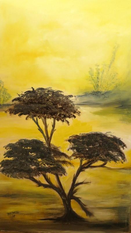 afrikanischer Baum, Acryl auf Leinwand, 100x60