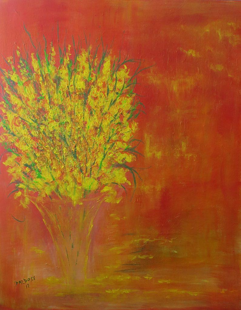 Vase mit Blumen, Acryl auf Leinwand, 100x80