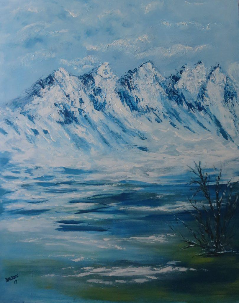 Gebirge mit Bergsee, Acryl auf Leinwand 100x80