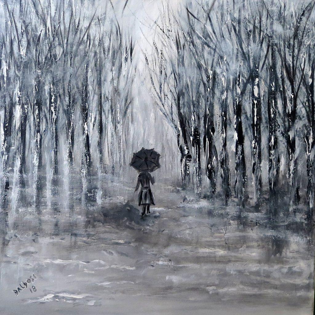 Regentag, Acryl auf Leinwand, 60x60