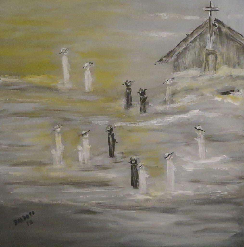 Kirchgang, Acryl auf Leinwand, 60x60