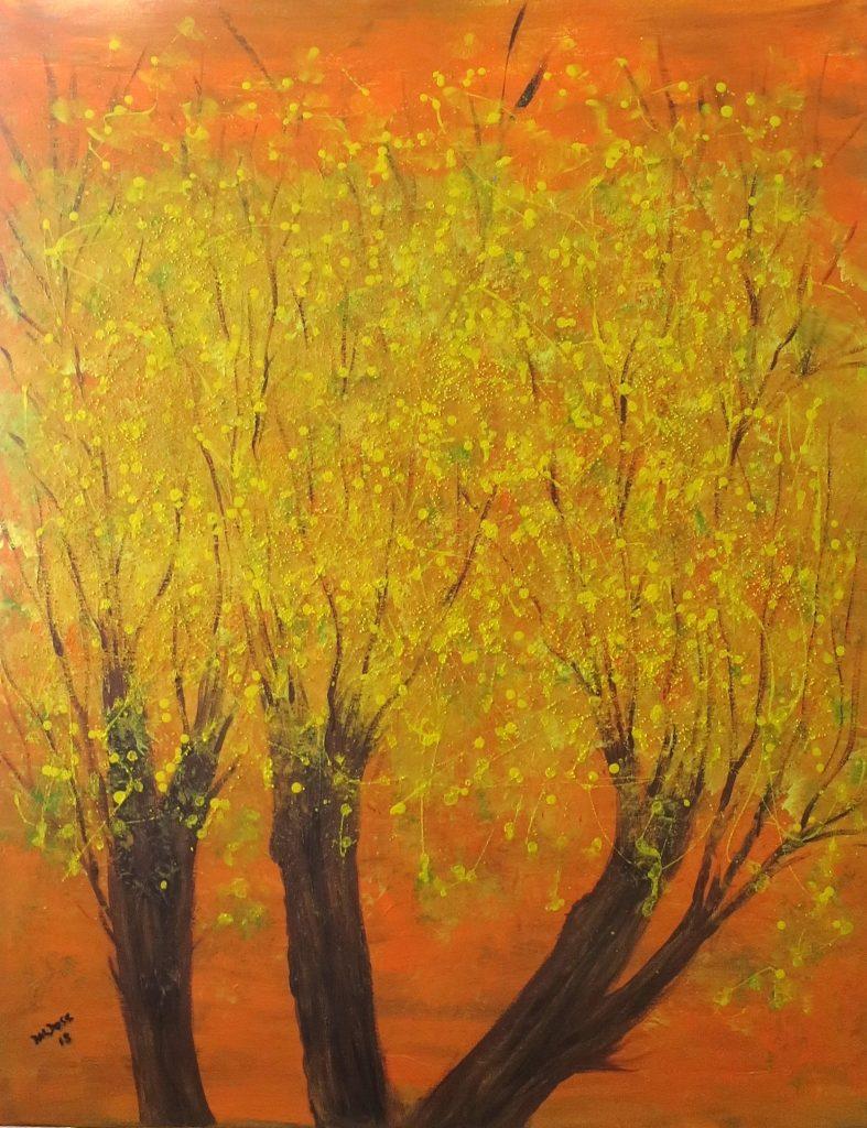 blühende Bäume, Acryl auf Leinwand, 100x80