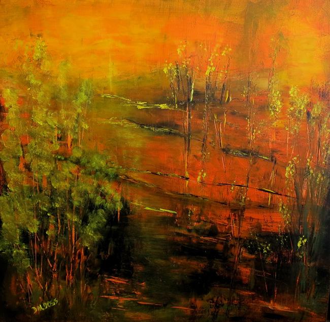 Natur in der Abendsonne, Öl auf Leinwand, 60x60cm