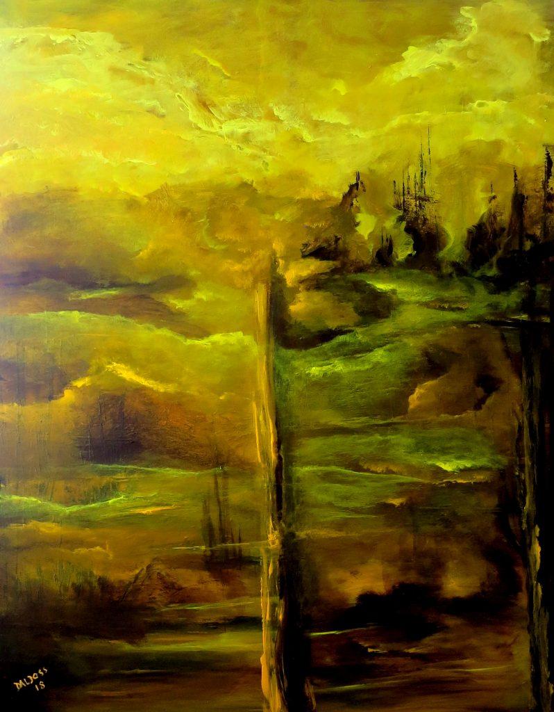 mystische Landschaft, Acryl auf Leinwand, 100x80