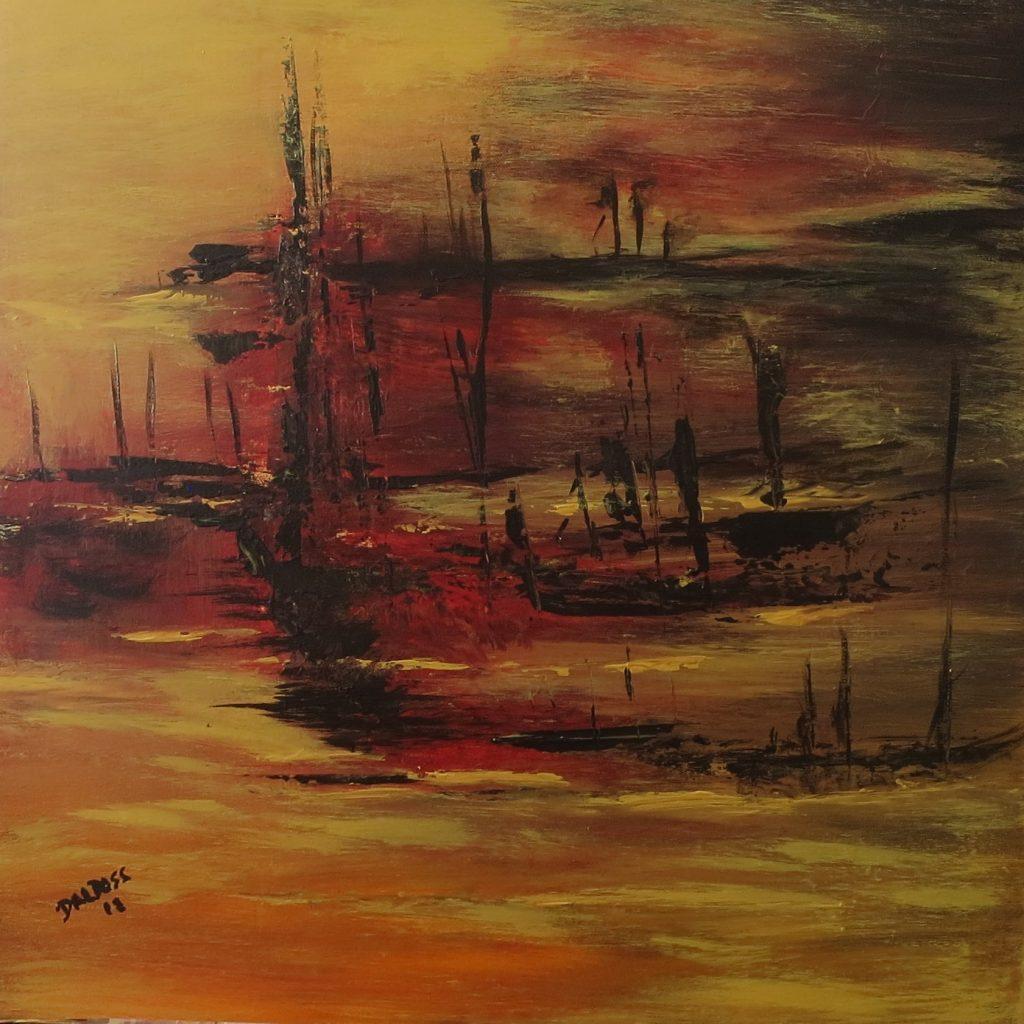 Fischerboote, Acryl auf Leinwand, 60x60