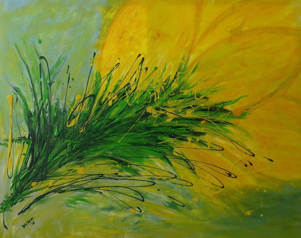 gelbe Blüte, Acryl auf Leinwand, 80x100