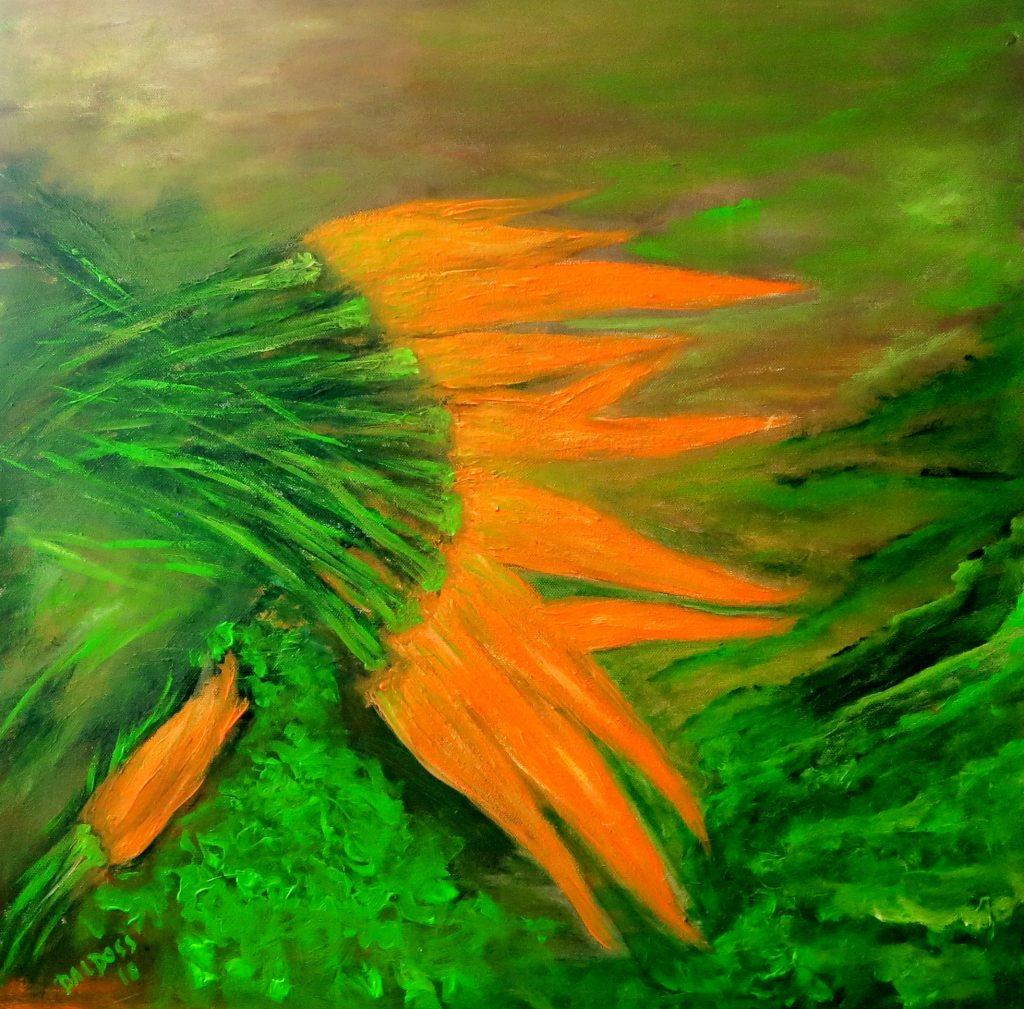Karotten, Acryl auf Leinwand, 60x60