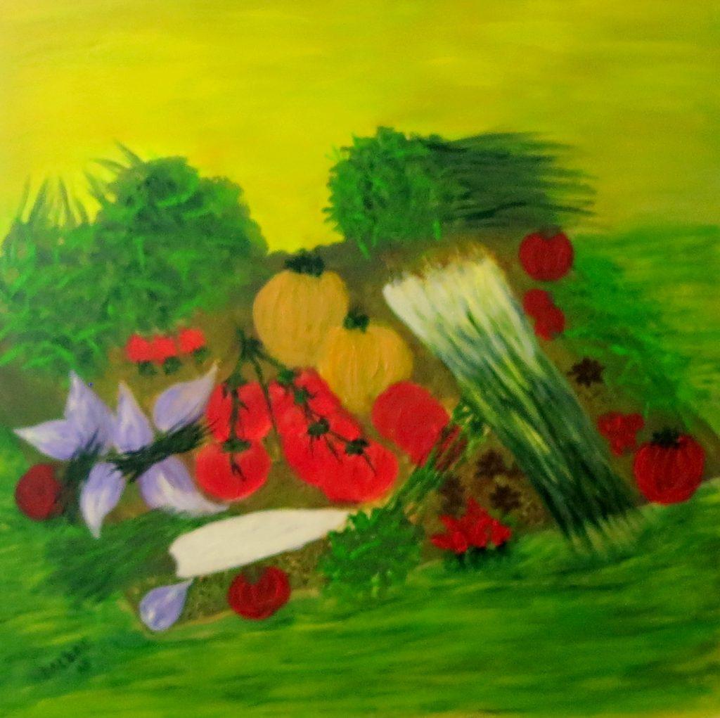 Gemüse, Acryl auf Leinwand, 60x60