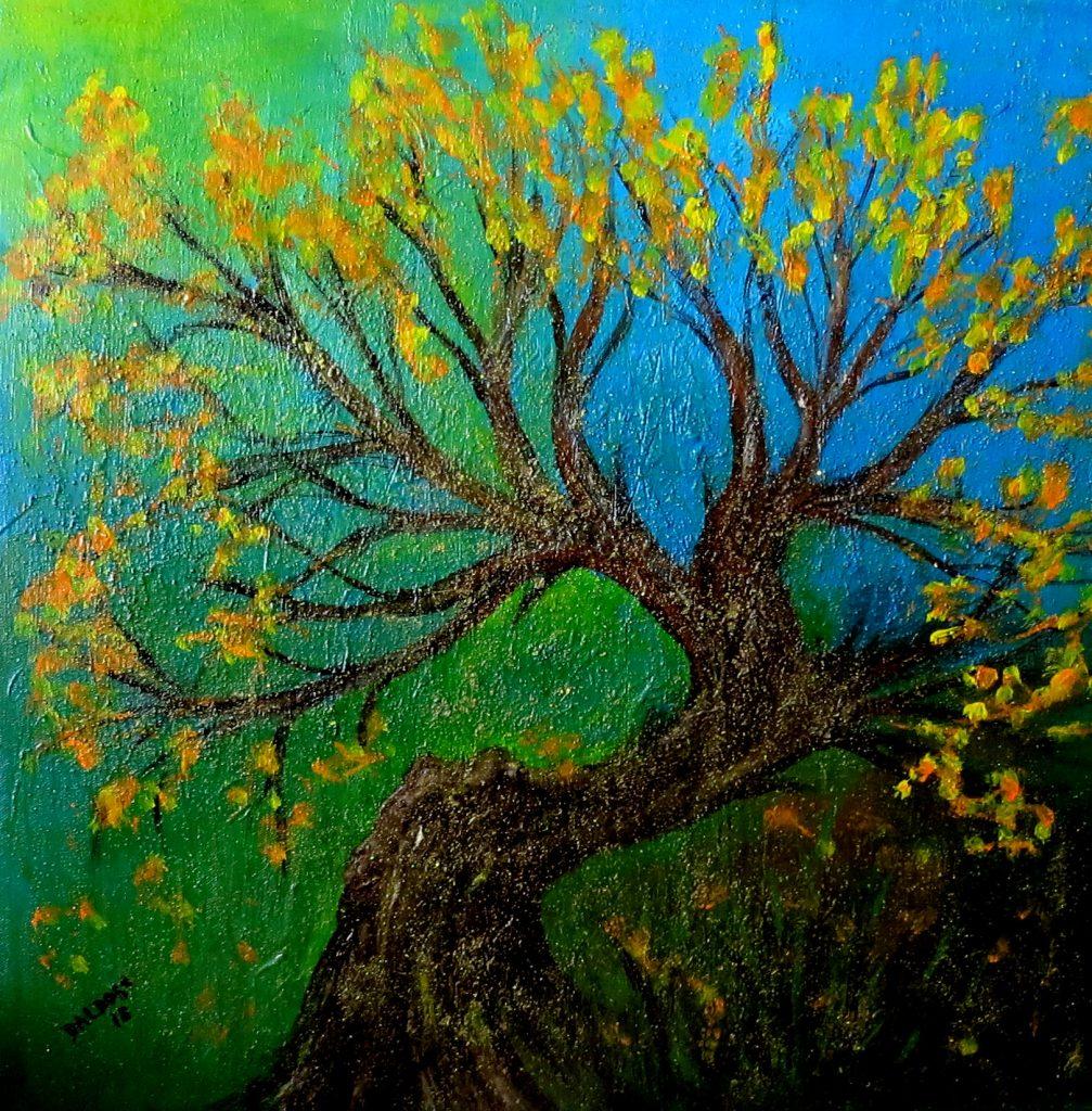 knorriger Baum, Acryl auf Leinwand, 60x60