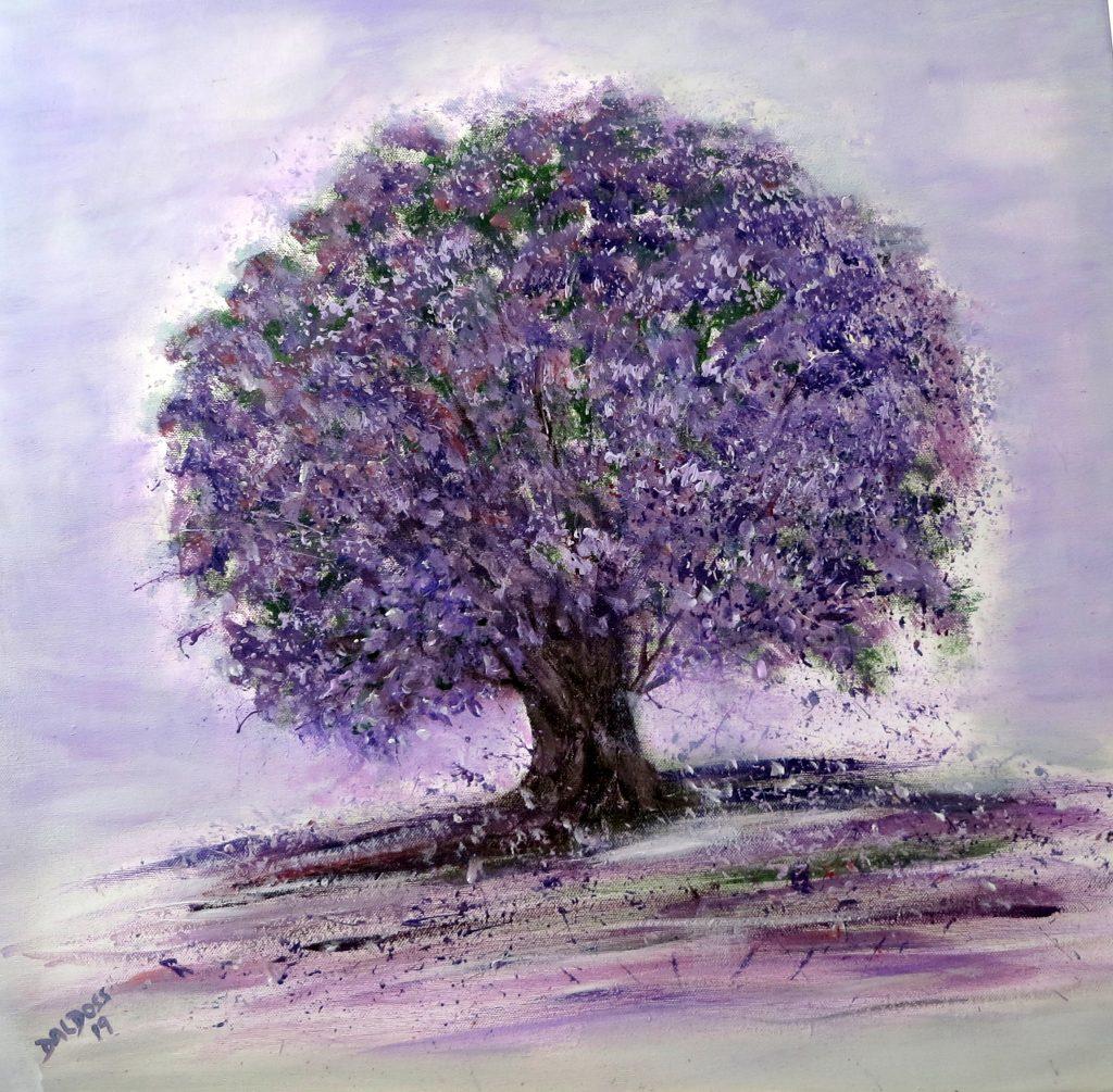 Jacaranda-Baum, Acryl auf Leinwand, 60x60