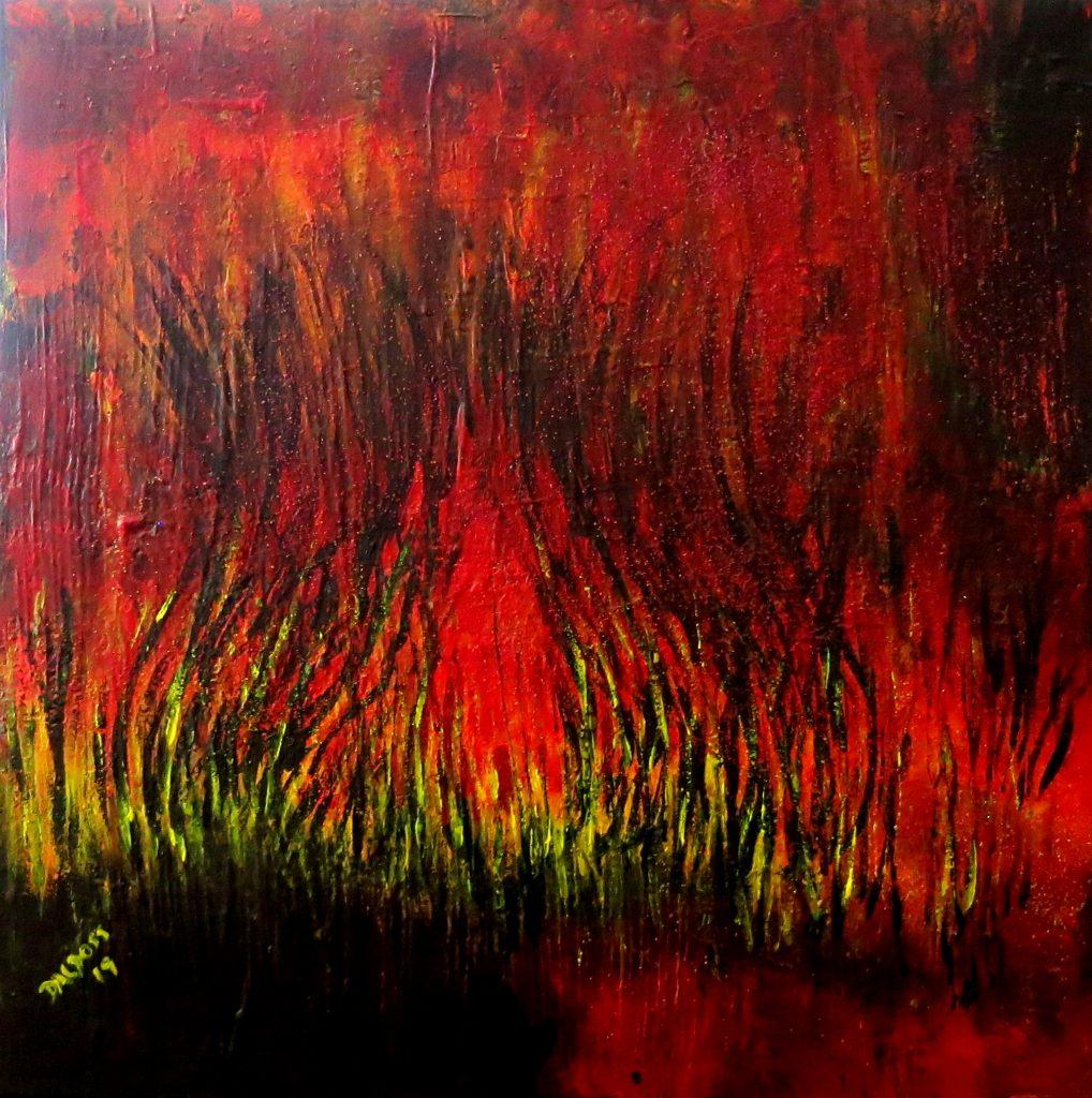 Feuer, Acryl auf Leinwand, 60x60