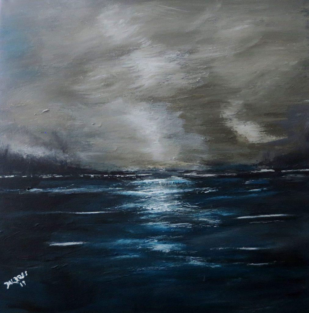 Nachtstimmung am Wasser, Acryl auf Leinwand, 60x60