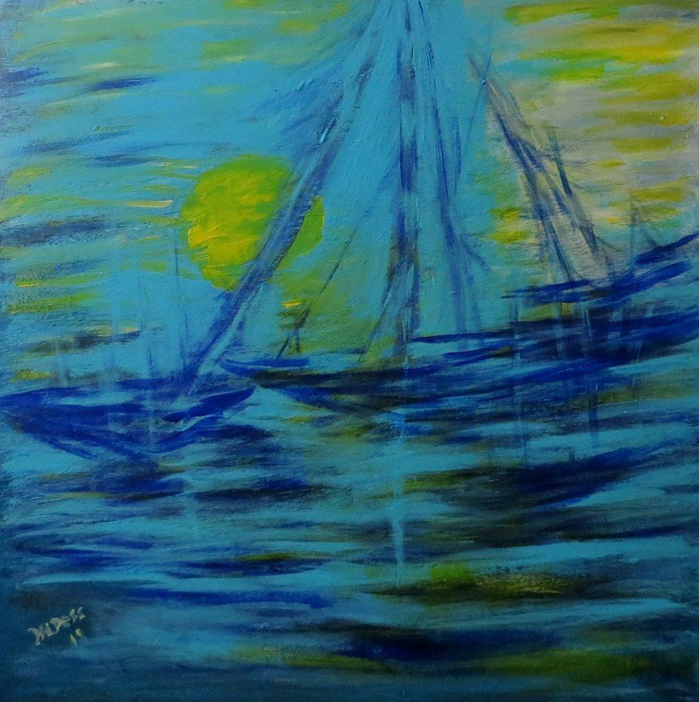 Segelschiff, Acryl auf Leinwand, 60x60