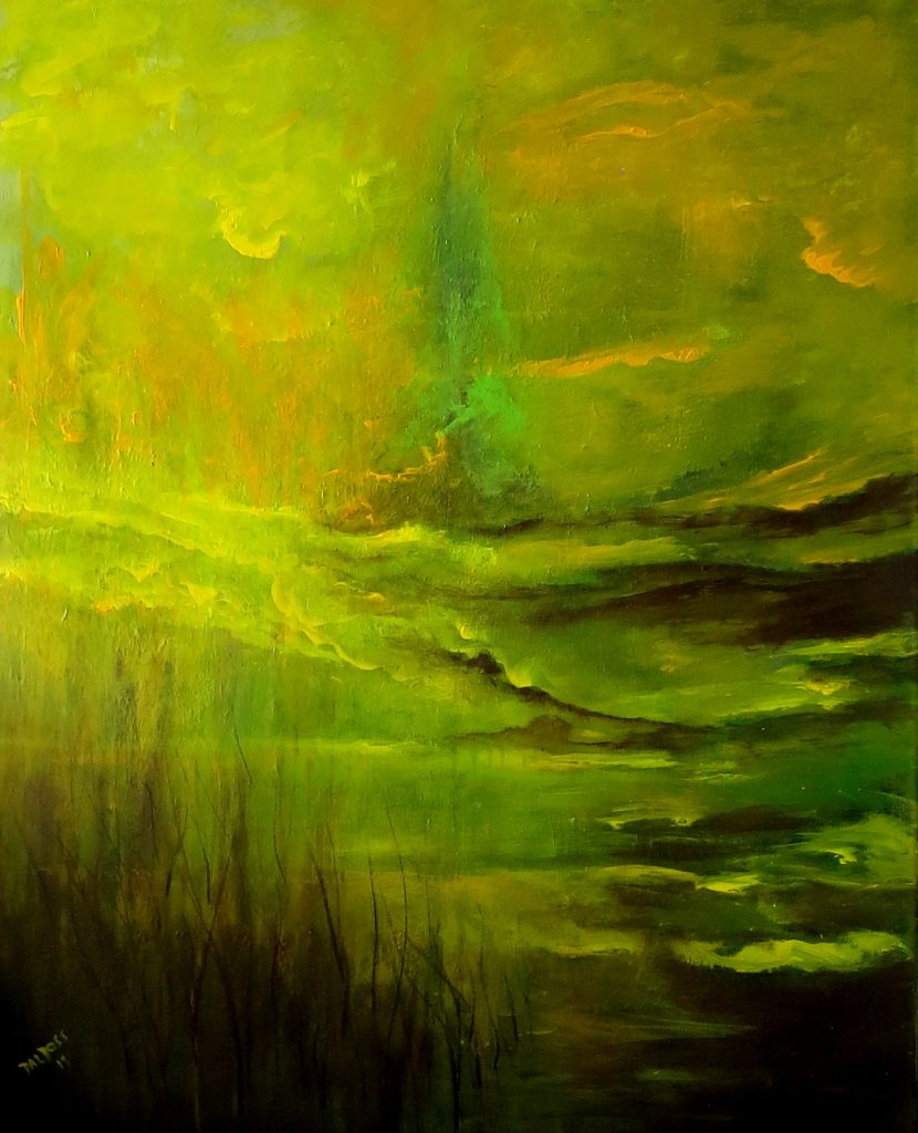 Spaziergang durch die Natur, Acryl auf Leinwand, 100x80