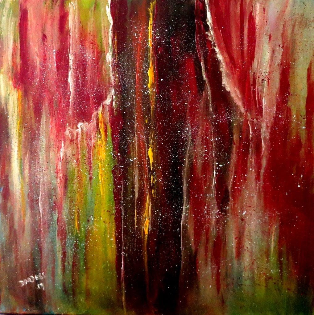 zerrissener Vorhang, Öl auf Leinwand, 60x60