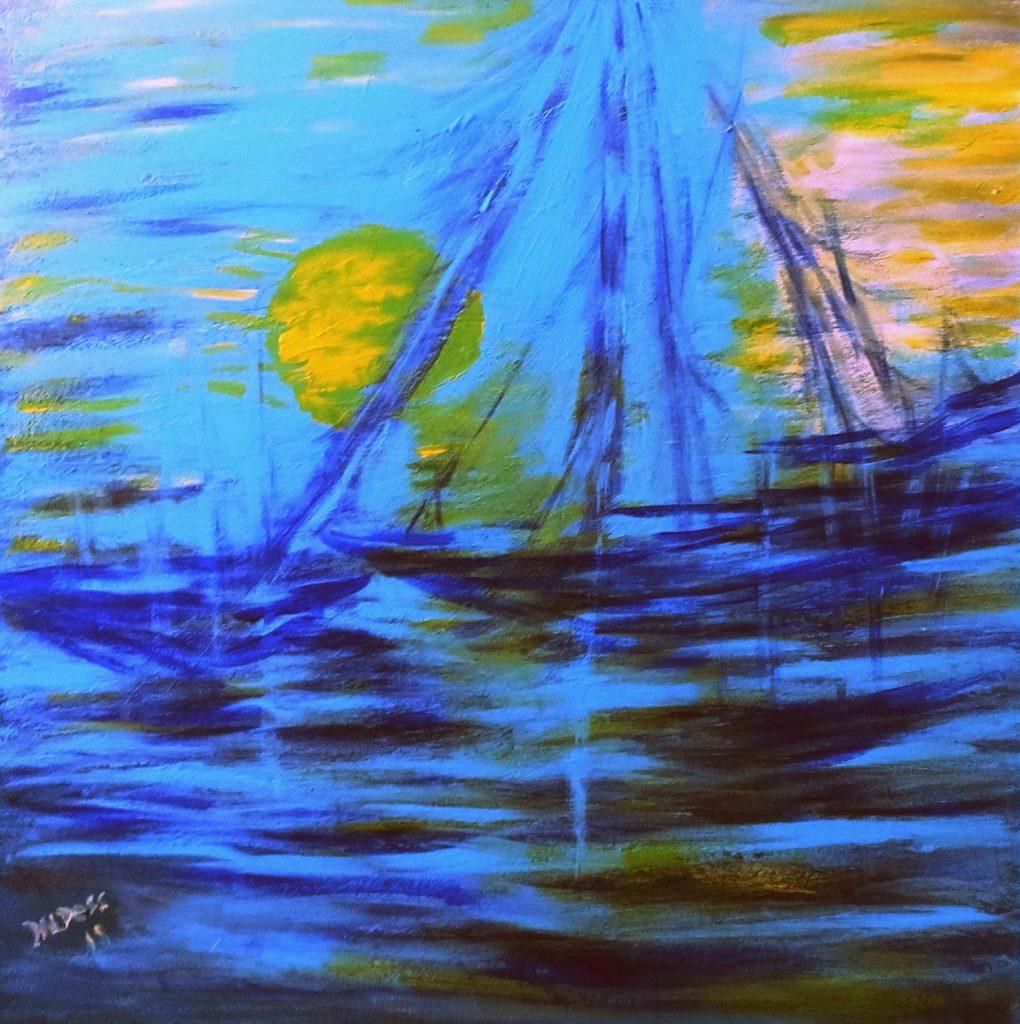 Segelboot, Acryl auf Leinwand, 60x60