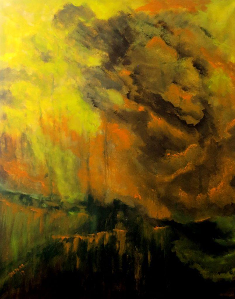 Regenwolken, Acryl auf Leinwand, 100x80