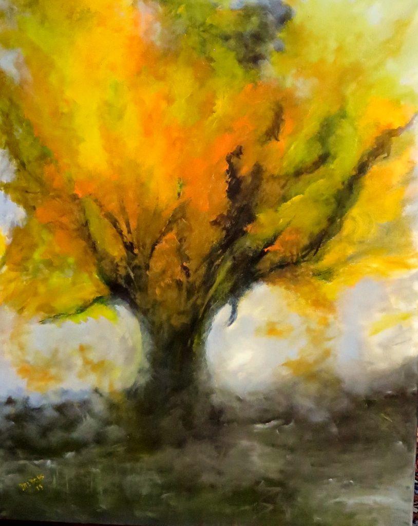 Baum in der Abendsonne, Acryl auf Leinwand, 100x80