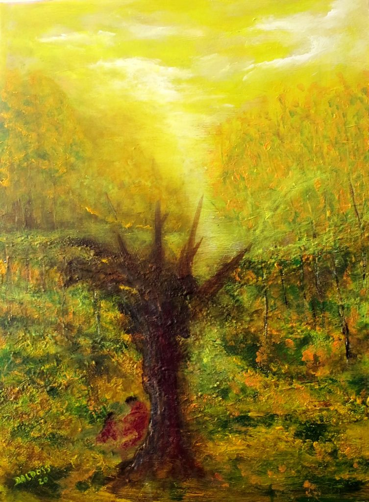 Rast in der Natur, Acryl auf Leinwand, 80x60