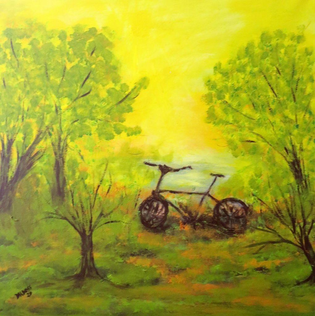 Radfahren in der Natur, Acryl auf Leinwand, 60x60