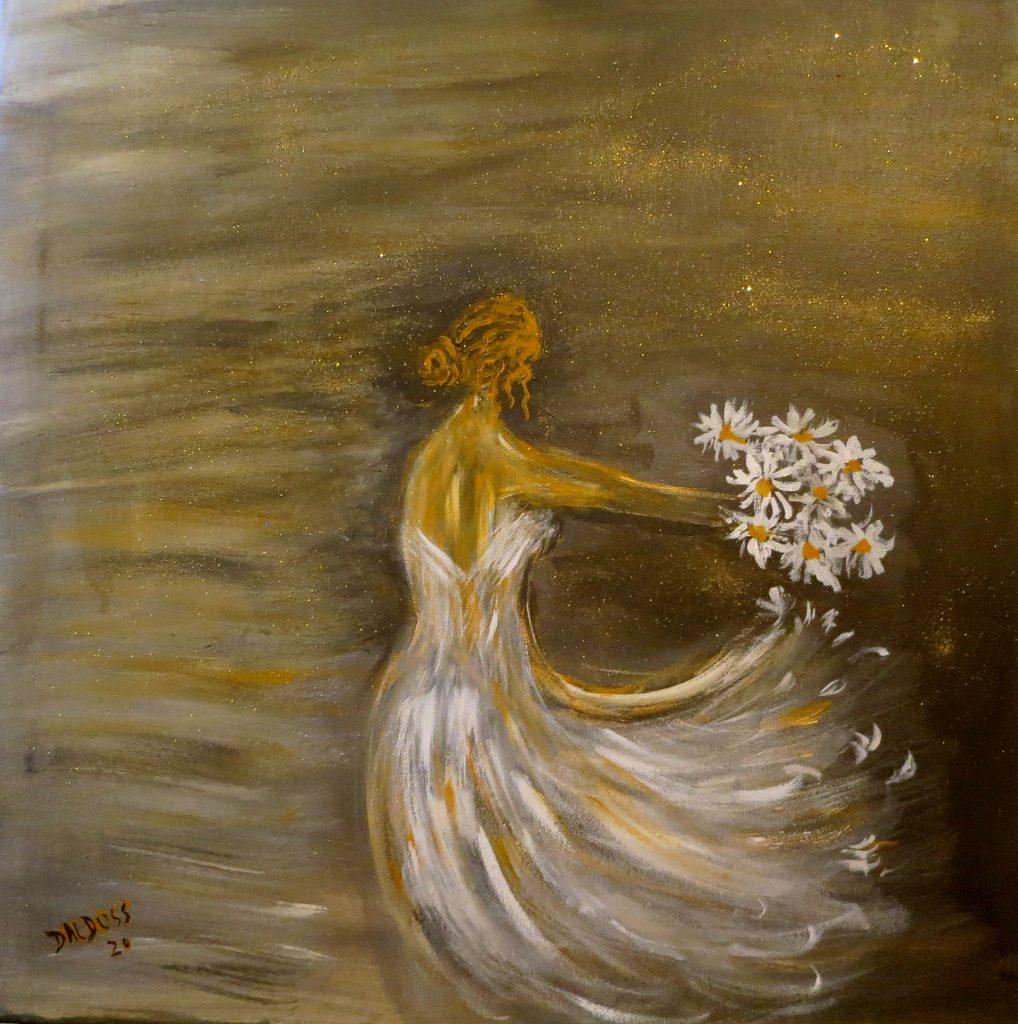 Blumenmädchen, Acryl auf Leinwand, 60x60