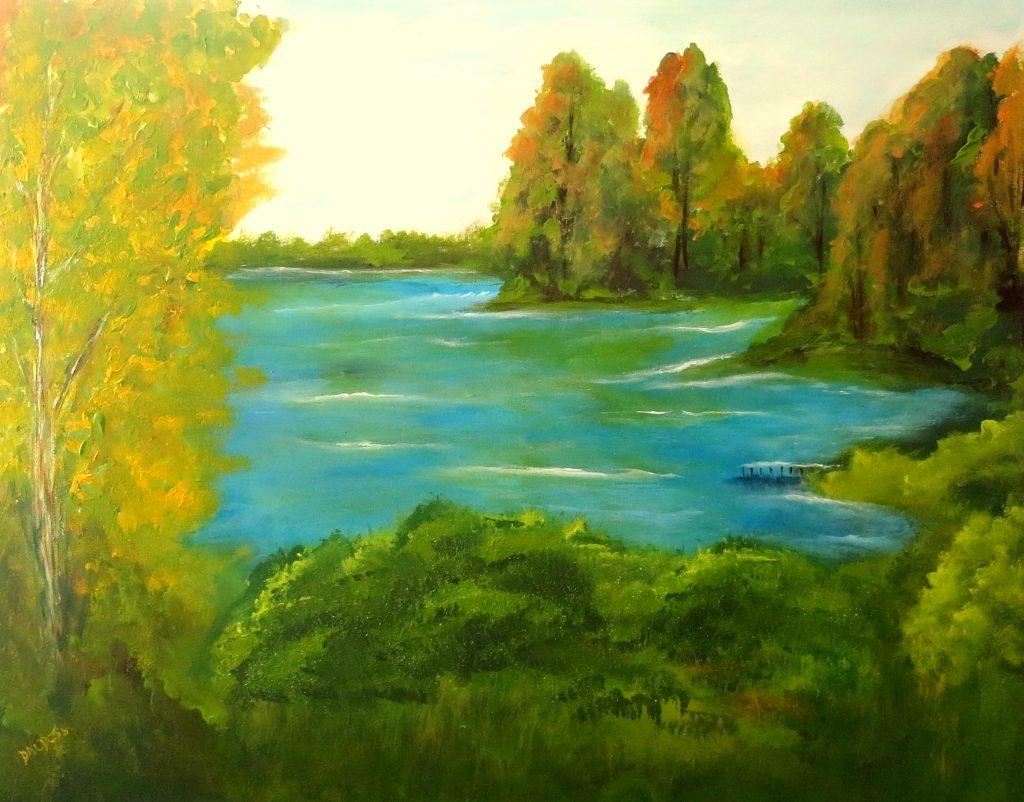 Hechtsee, Acryl auf Leinwand, 80x100