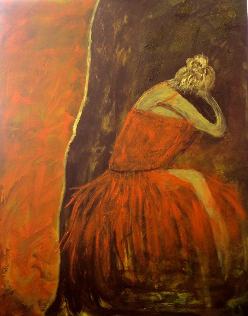 in Gedanken versunken, Acryl auf Leinwand, 100x80