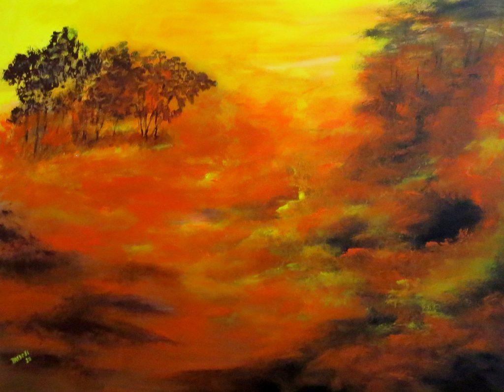 Waldbrand, Acryl auf Leinwand, 80x100