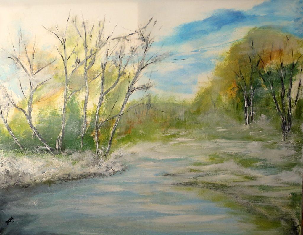 gefrorener See , Acryl auf Leinwand, 80x100