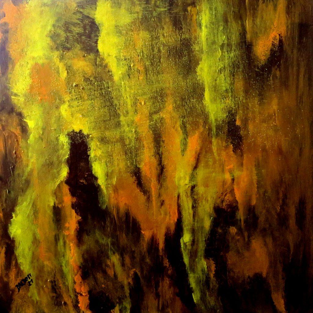 Tropfsteinhöhle, Acryl auf Leinwand, 60x60