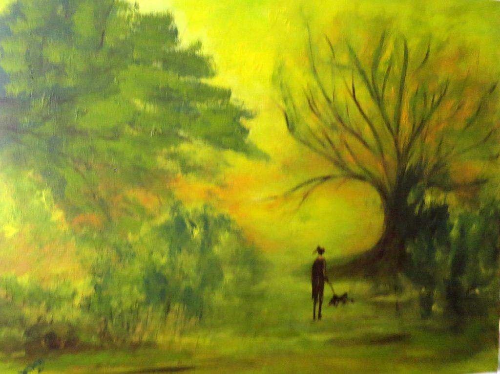 Spaziergang mit Hund, Acryl auf Leinwand, 80x100