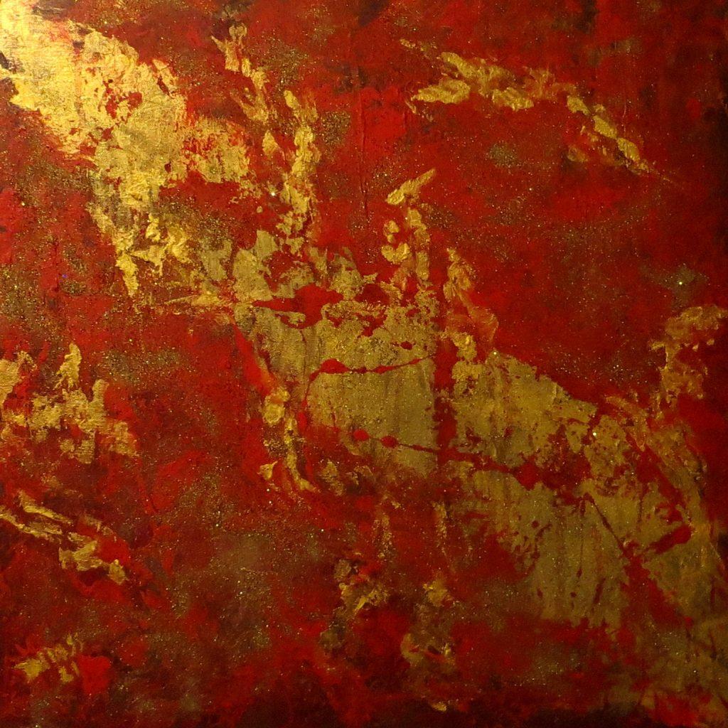 ohne Titel rot-gold, Acryl auf Leinwand, 60x60